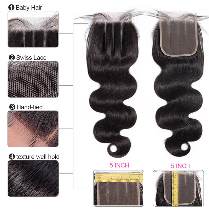 5x5 Hair Closure Body Wave 8-20Inch