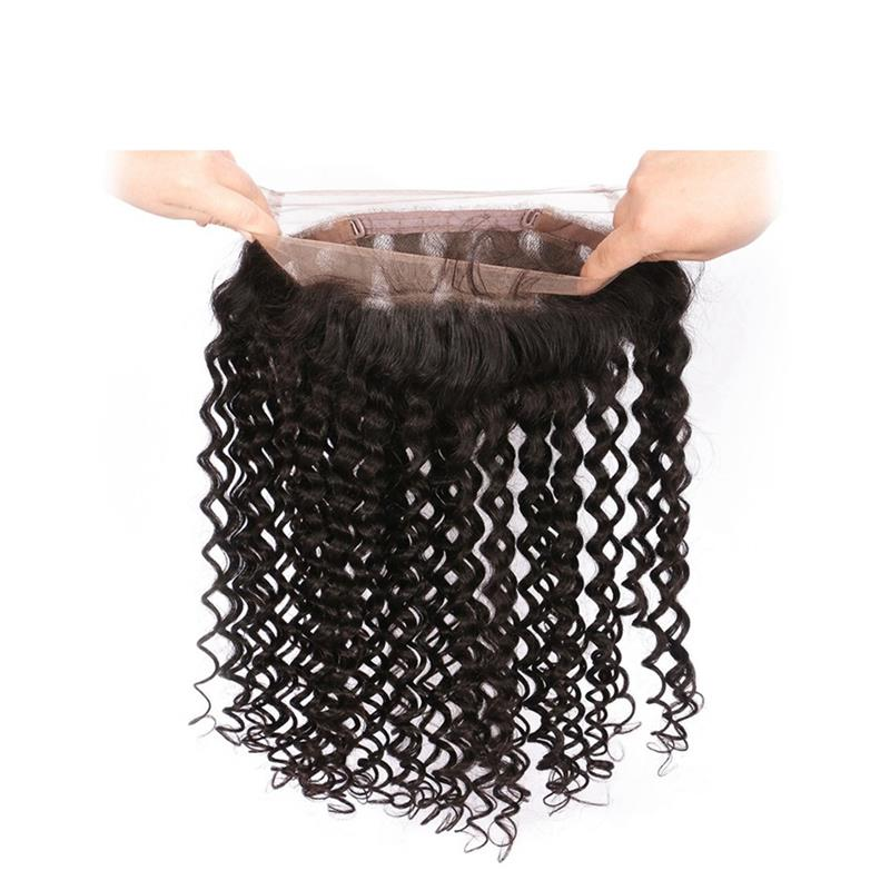 360 Lace Frontal Band Curly Wave Brazilian Hair