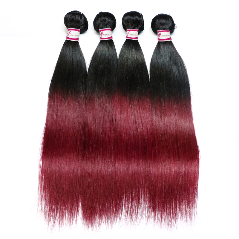 Ombre Hair Extensions Brazilian Straight Weave 1B/99J Color