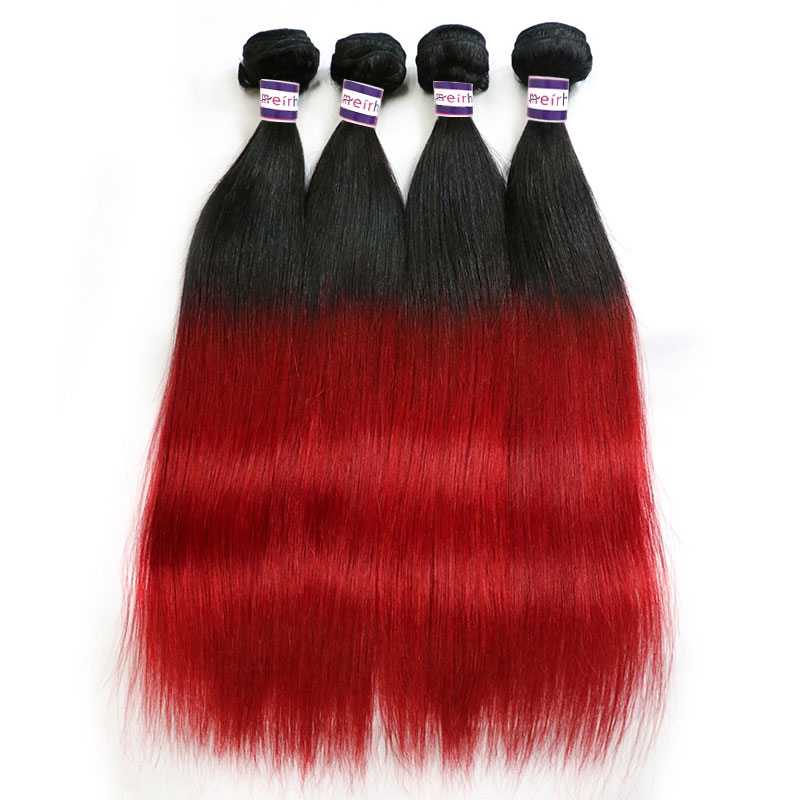 Ombre Red Hair Brazilian Straight Weave Styles 1B/Red