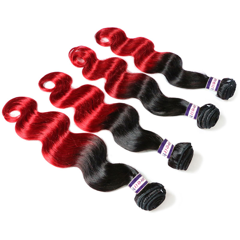 Colored Human Hair Extensions Body Wave Colored Hair 1B/Red