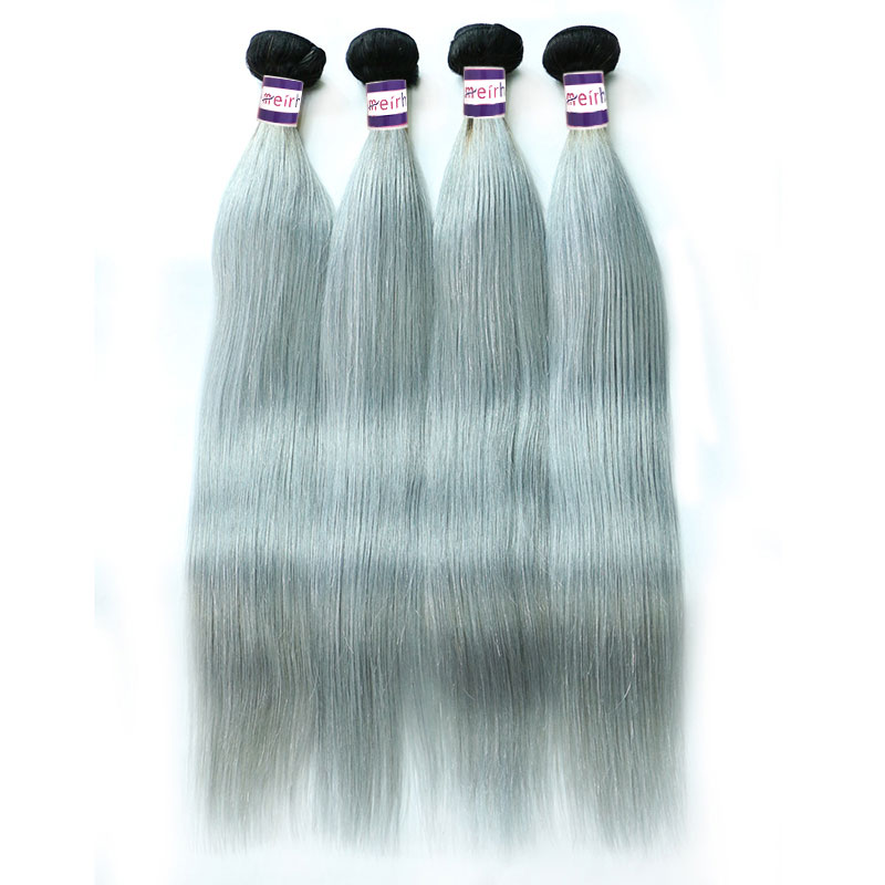Ombre Hair Color Gray Brazilian Straight 1B/Grey