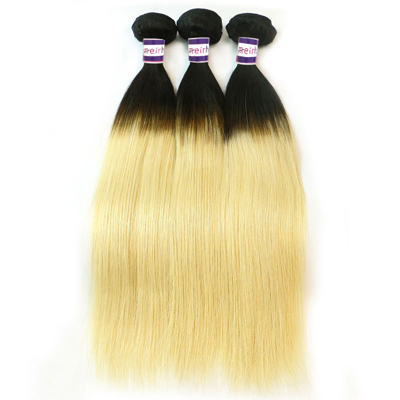 Black Blonde Ombre Hair Brazilian Straight 1B/613