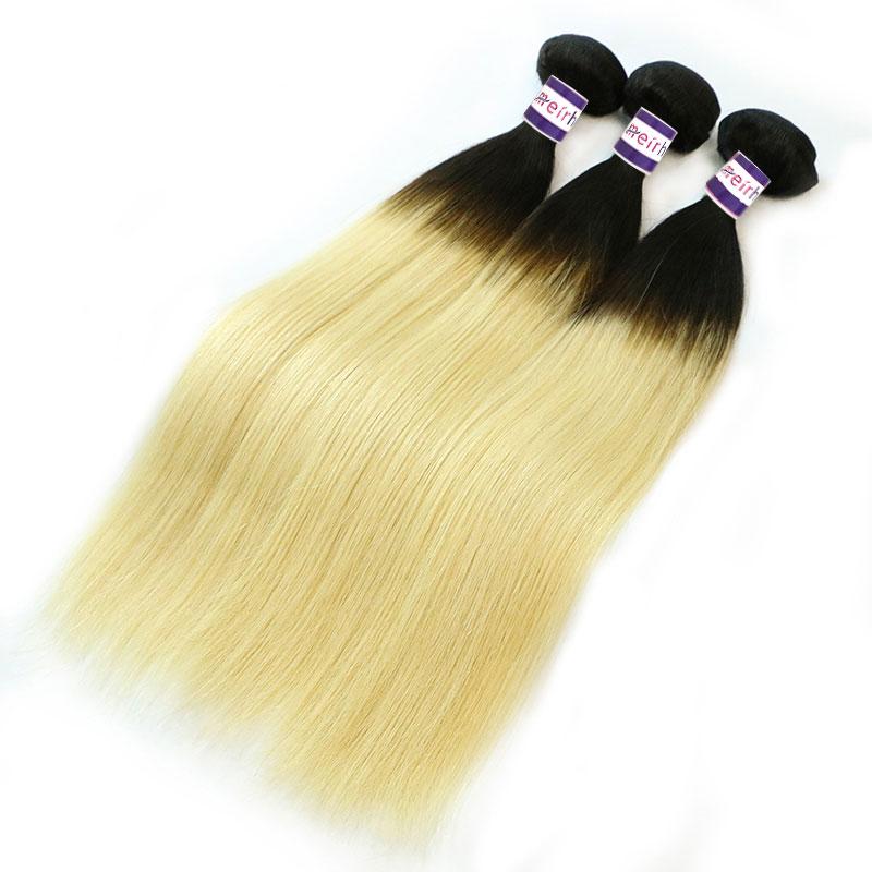 Black Blonde Ombre Hair Brazilian Straight 1B/613
