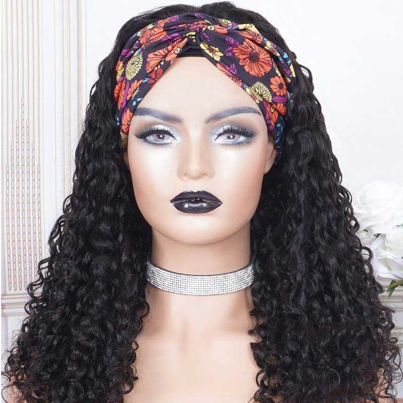 Capless Curly Headband Wig