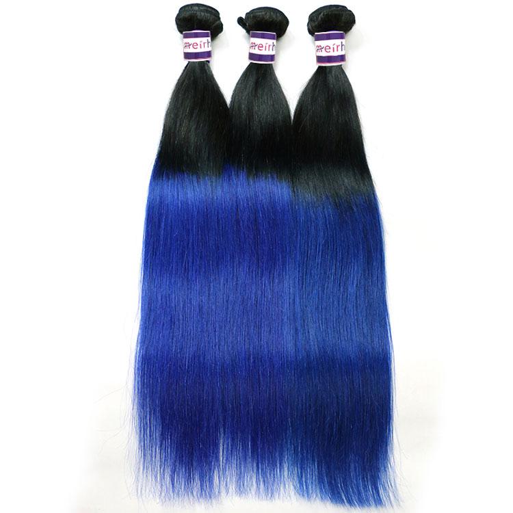 Blue Ombre Hair Straight Bundles 1B/Blue