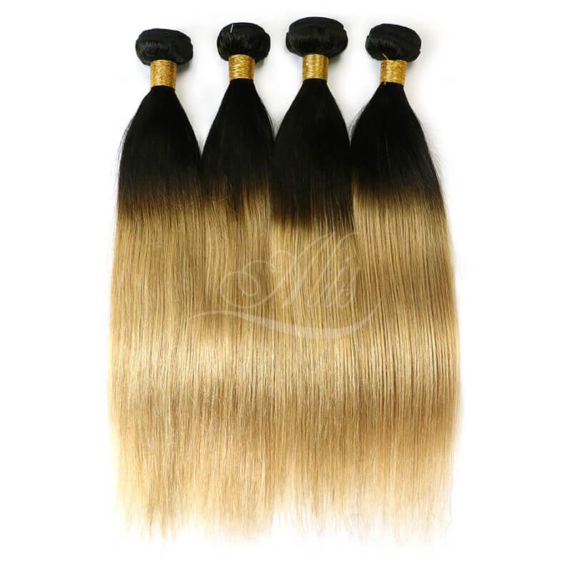 Black Hair Blonde Ombre Brazilian Straight Hair 1b27