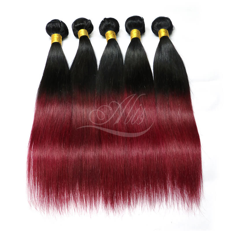 Ombre Hair Extensions Brazilian Straight Weave 1b99j Color