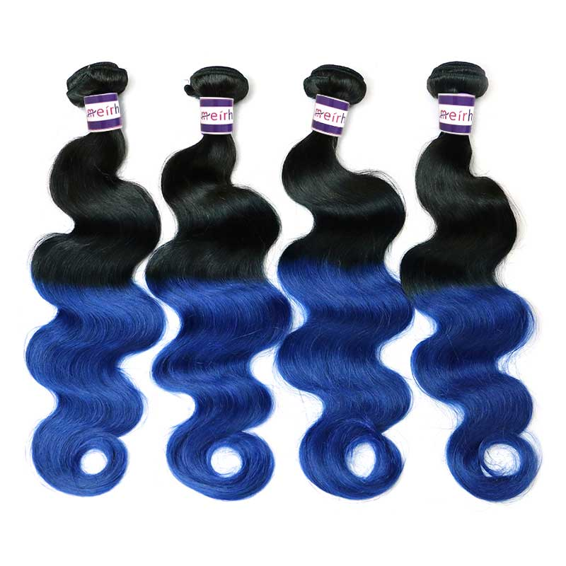 Blue Hair Extensions Brazillian Body Wave Hair Ombre 1B/Blue