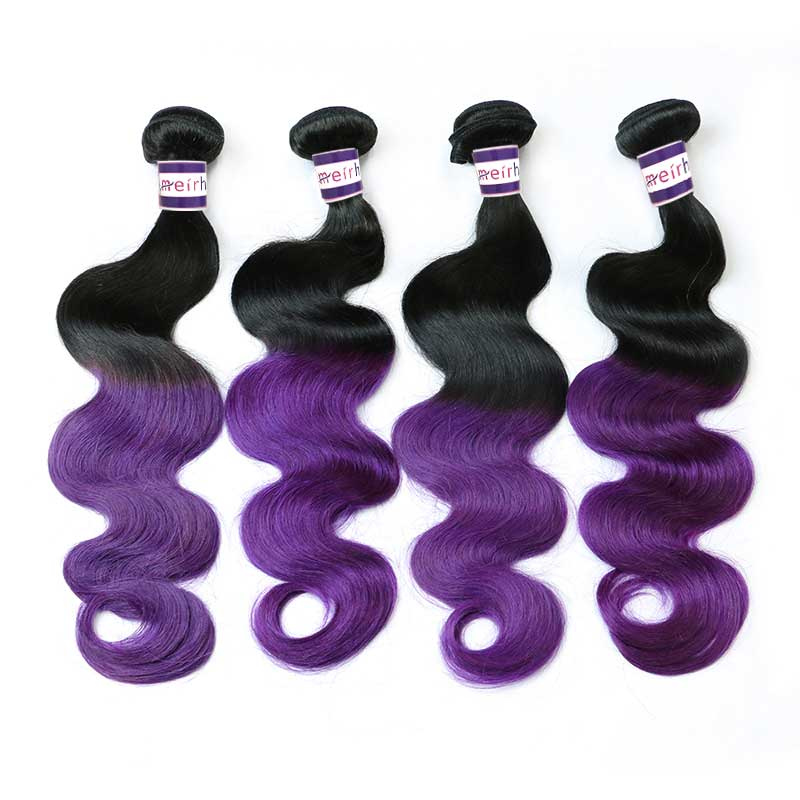 Purple Ombre Hair Extensions Body Wave Bundles