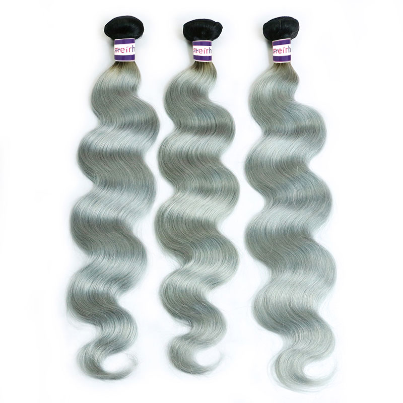Black Siver Grey Color Hair Ombre 1B/Silver Grey